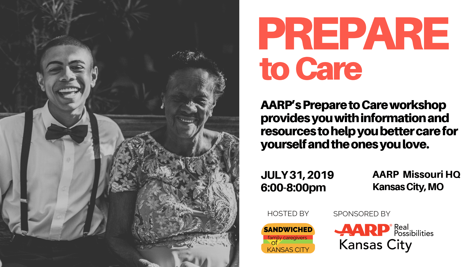 Banner: Prepare to Care AARP MO Office July 31, 2019 6:00-8:00pm
